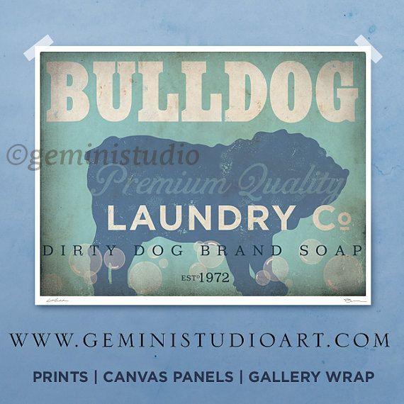 English Bulldog laundry company dog laundry room artwork giclee archival signed artists print Pick A Size