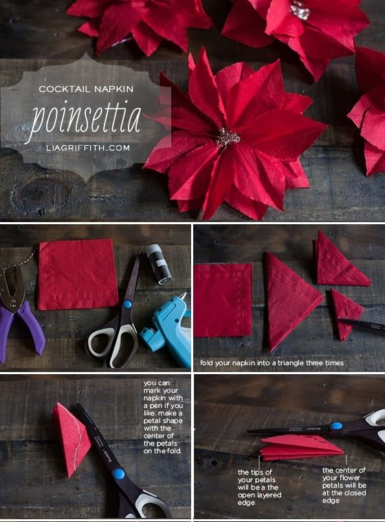 Diy Projects: Make a Paper Poinsettia From Napkin