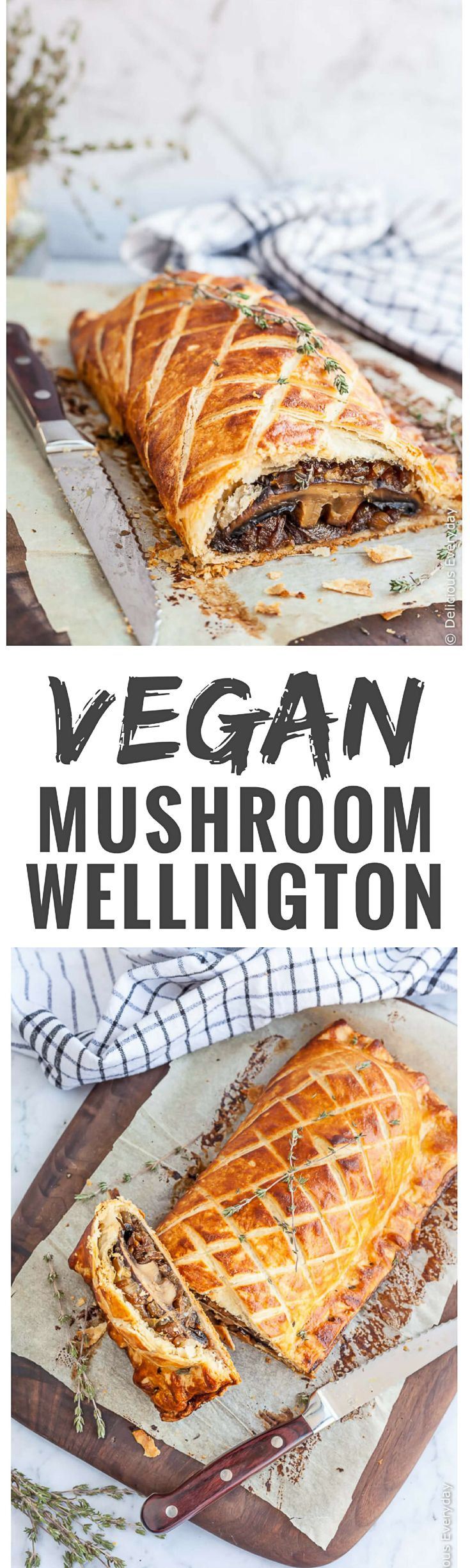 Flaky, Golden and Delicious this Vegan Mushroom Wellington is sure to take center stage at your Christmas feast. Learn how to make this vegetable wellington. via @deliciouseveryday