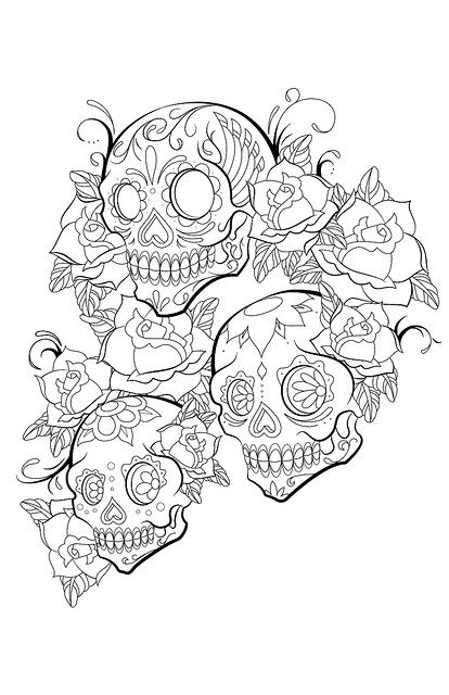 sugar skull designs coloring pages - photo#29
