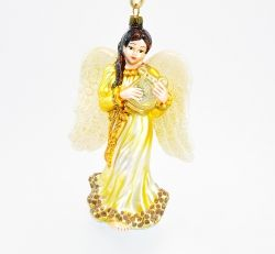 Angel with lyre - gold robe - Polishchristmasornaments