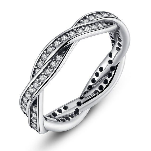 Silver Twist CZ Stacking Ring