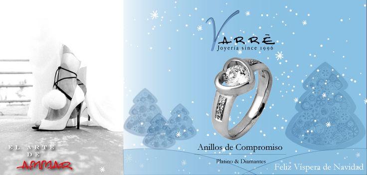 El Arte de Ammar ♥  Argollas de Matrimonio Oro & Platino / Anillos de Compromiso Platino & Diamante... Feliz Víspera de Navidad... #navidad #momentos #sábado #tbt #joyería #diciembre #amor #yonovia