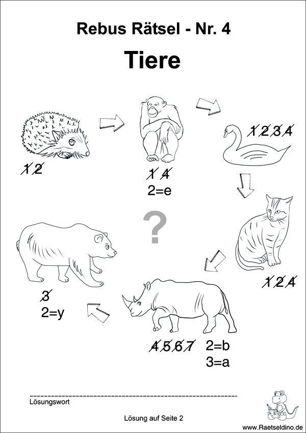 Rebus Rätsel mit Tieren