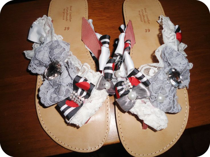 handmade decorated sandals with grey bows,lace and strass   #summer #sandals #navy #bows #summersandals #handmade #greeksandals #χειροποιητα #σανδαλια