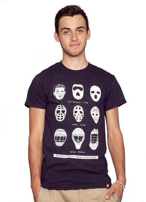 Rocket Factory Hockey Goalie Mask Evolution T-shirt Men's Sizes Small