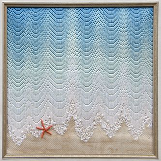 EXCELLENT USE OF FLOSS/YARN GRADATION AND TEXTURED STITCHES FOR FOAM/SHELL - Walking The Waters Edge by Diane Herrmann