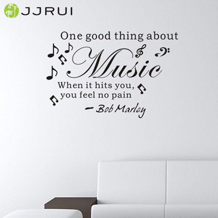 >> Click to Buy << JJRUI Wall Quote Decal Vinyl Sticker Art ONE GOOD THING ABOUT MUSIC Bob Marley Music Makes You Feel No Pain Party 21 Colour  #Affiliate