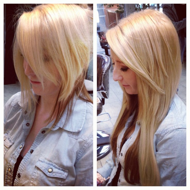 Extensions, before and after, blonde, pretty hair, long hair, hair by Ashley Spadano