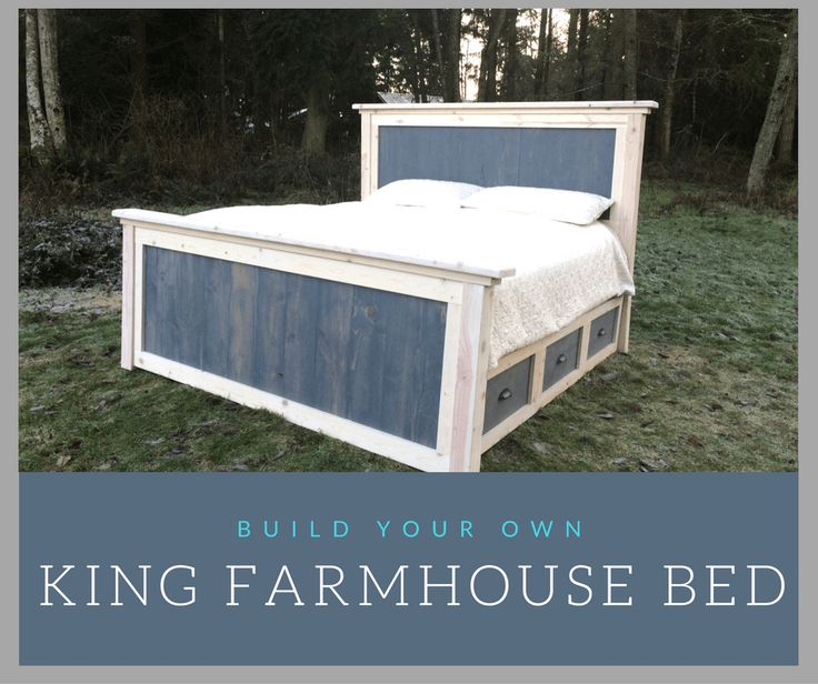 Best 25 farmhouse bed ideas on pinterest woodworking plan headboard diy bed frame and bed - Build your own king size platform bed ...