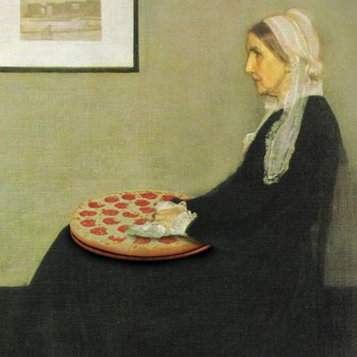 Whistler's Mother loved Little Caesars Pizza. #Painting #LittleCaesars #LC #Pizza #Meme #Funny #Silly #Canvas #History #Popular #Culture #Museums #VictorianEra