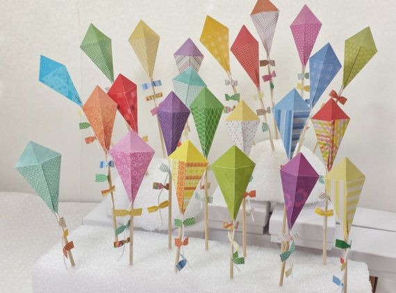 Kite Cupcake Toppers New Colors by HandyGrams on Etsy