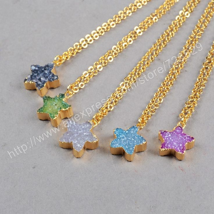 5Pcs/lot Gold Color Star Shape Dyed Rainbow Agate Druzy Geode Golden Chain Druzy Necklace G0228
