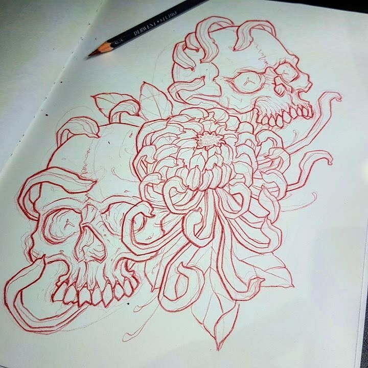 I Have This Skulls & Chrysanthemum Design Up For Grabs To