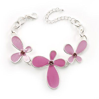 Pink Enamel Floral Bracelet Avalaya. $16.20. Occasion: anniversary, sweet 16 birthday, casual wear. Gemstone: diamante. Material: enamel. Style: boho. Metal Finish: silver plated