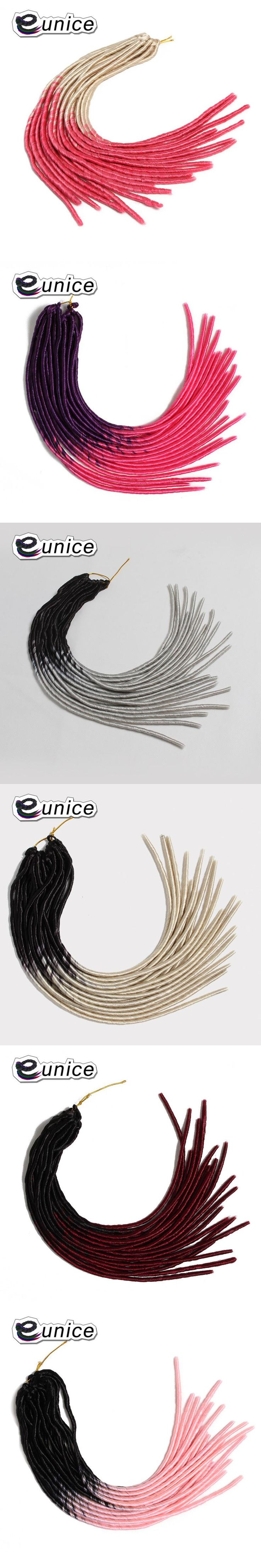 """Eunice 20""""inch braiding ombre T1B/PINK kanekalon Hair Dreadlocks Braids Synthetic Bundles 20Strands/pack Colored Hair Extensions"""