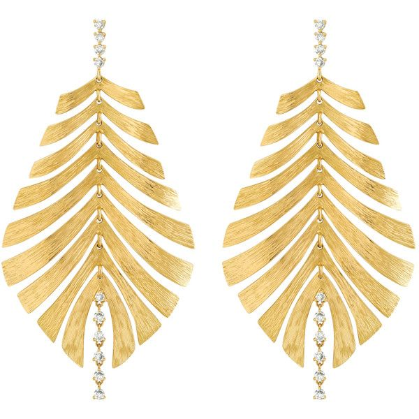 Bahia Yellow Gold Earrings by HUEB ($5,665) ❤ liked on Polyvore featuring jewelry, earrings, joias, gold, leaves earrings, cut out earrings, holiday jewelry, evening jewelry and gold jewellery