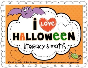 I Love Halloween Literacy and Math by First Grade Schoolhouse. FIRST GRADE. $ Halloween-themed activities and centers. Compare and contrast SPIDERS and insects, write and share BAT facts, Halloween Web, We Celebrate Halloween main idea/details graphic organizer, Take a Survey: CANDY APPLES or CANDY CORN?, Halloween Word Bank: write lists/pictures of Halloween costumes, symbols, and candy, write a Halloween couplet poem, TRICK or TREAT book, 3 MATH and 3 LITERACY centers, and MORE!