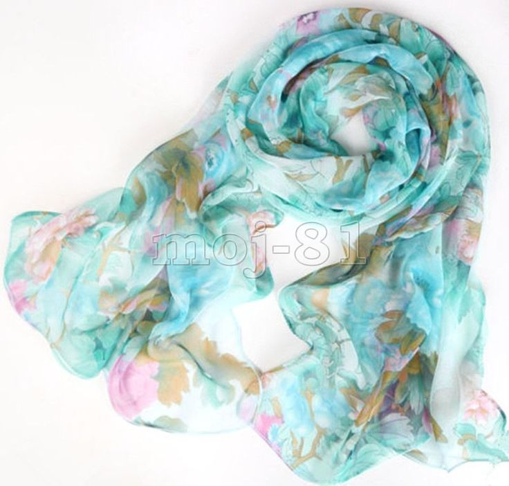 Fashion Pretty Blue Flower Long Soft Chiffon Beach Scarf Wrap Shawl Stole