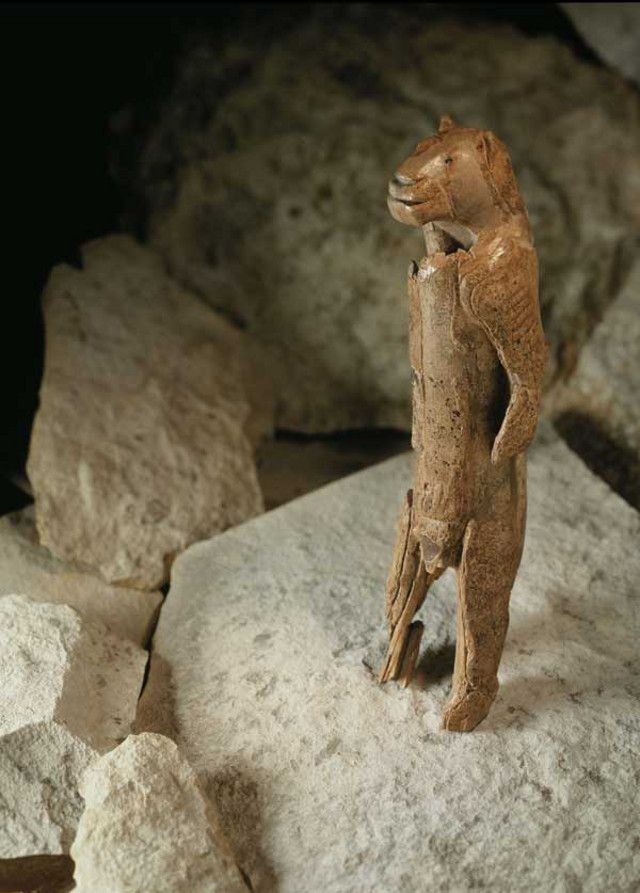 Behold Lion Man, an ancient figurine sculpted from a mammoth's tusk. Discovered back in 1939, this remarkable ice age piece was initially dated at 32,000 years-old, but a new carbon dating analysis has pushed it further back in time to 40,000 years ago — making it the oldest figurative sculpture ever discovered. So yes, this thing was actually sculpted by a paleolithic human who was romping around Europe at the mid-point of the last ice age.