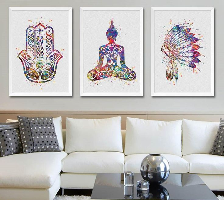 Buddha , Hamsa and feather decoration for a zen environment  -Canvas
