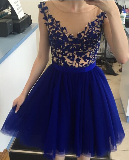 Charming Prom Dress,Tulle Homecoming Dress,Blue Backless Prom Dress,Short