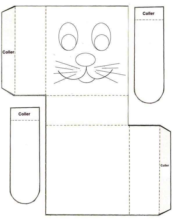 Coloriage De Paques Tete A Modeler.Imprimer La Boite Tete De Lapin De Paques Lapins