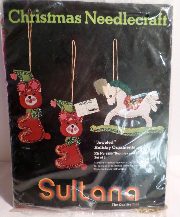 Vintage Sultana, Sultana Ornament Kit, Felt & Sequin ornaments, Christmas Decorations, Christmas ornaments, 1980s Christmas, bucilla Kit by DeliciasCastle on Etsy