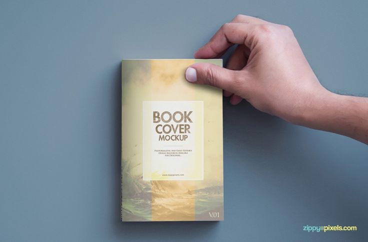 Best Book Cover Mockup : Realistic book cover mockup with a hand holding the top