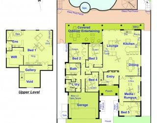 See the floor plan for the Delungra holiday home Gold Coast. 2 levels - 5 bedrooms.