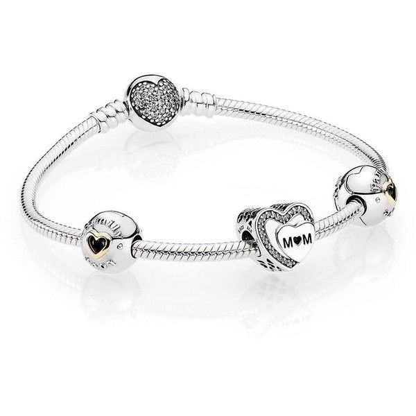 Pandora Mother's Day Charm Bracelet Gift Set - Sterling Silver ($190) ❤ liked on Polyvore featuring jewelry, bracelets, silver, pandora gift sets, pandora bangle, sterling silver charm bracelet, pandora jewellery and pandora jewelry