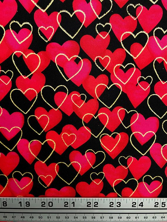 Red and Gold hearts over black fabric 0f7233c1b