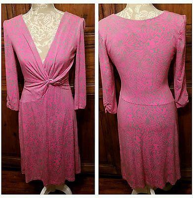 Lilly Pulitzer Womens Size S Faux Wrap Dress Pink Green Jersey Hidden Kitten