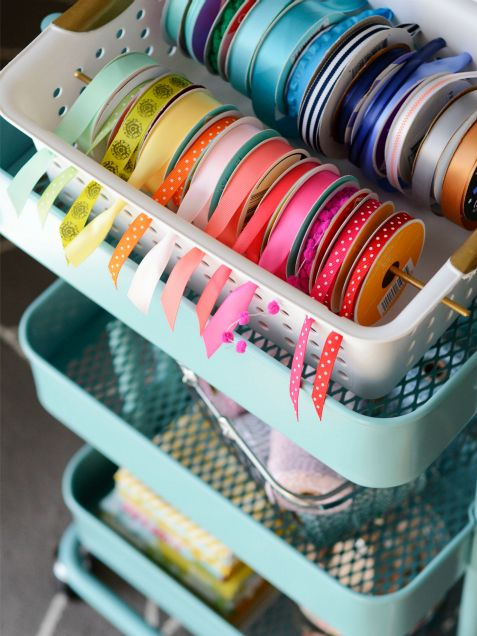 DIY Gift Wrapping Station -ribbon in basket idea. Can also put ribbons on rod or paper towel holder