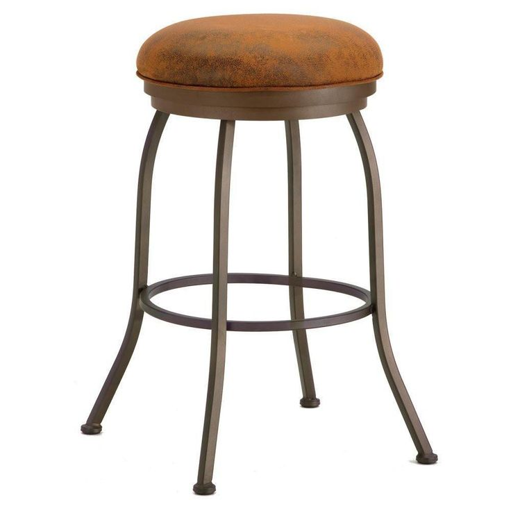 "Iron Mountain 2002326 Fiesole Backless Counter Stool 26"" Seat Height w/ Mayflower Cocoa Fabric - Inca/Bronze"