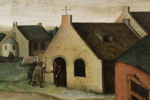 De vreemdelingen herbergen. Fragment van een schilderij van een leerling van Brueghel de Jongere de werken van barmhartigheid (17de eeuw)