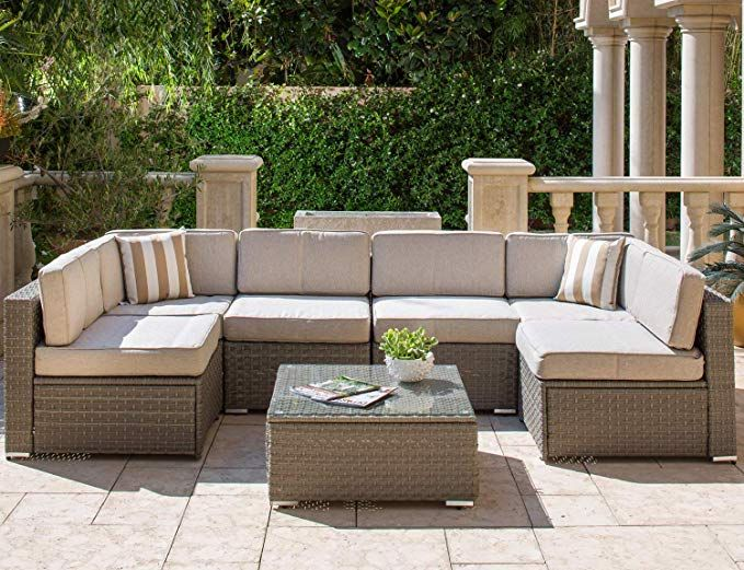 Amazon Com Solaura Outdoor Furniture Set 7 Piece Wicker Furniture