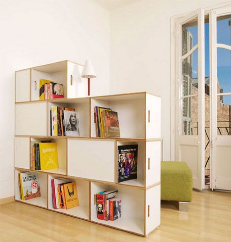 BRICK BOX SHELVING 1- Each unit is designed to stack in an alternating, brick-like fashion. This is quite intentional, providing additional structural rigidity while also creating various interior volume sizes and allowing complete systems to wrap corners.