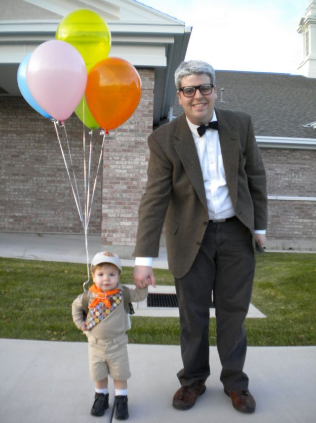 Up, up, and away! For Halloween, this dad and his son went as Russell and Carl Fredricksen from Up. Aww.