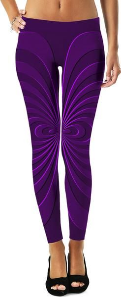Trippy curves, spirals pattern, #purple, #violet colors, geometric themed #leggings design - item printed by RageOn.com, also available at casemiroarts.com #style #slothing #apparel #design #fashion #rageon