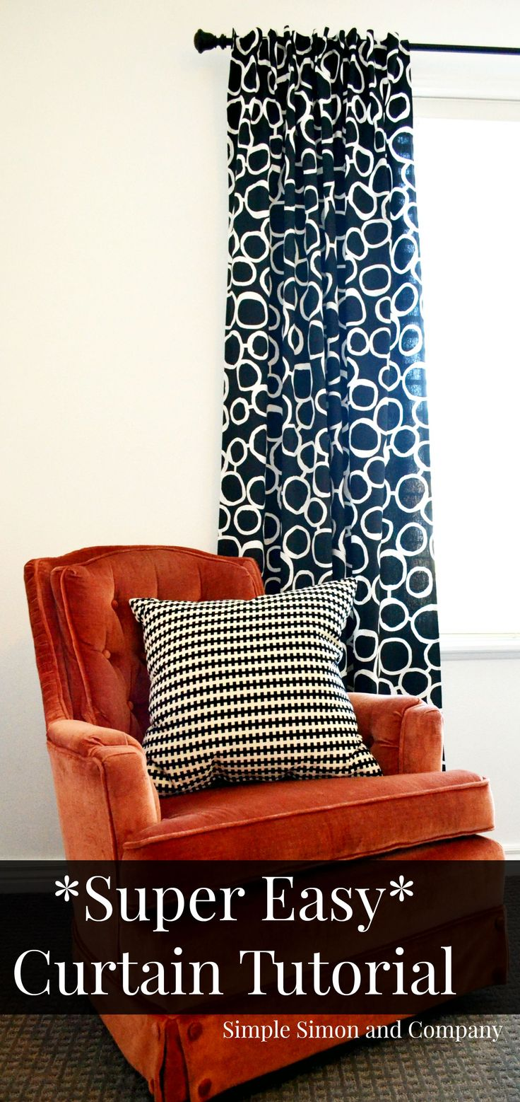 Red patterned curtains living room - Super Simple Curtain Tutorial How To Make A Curtain In 6 Easy Steps