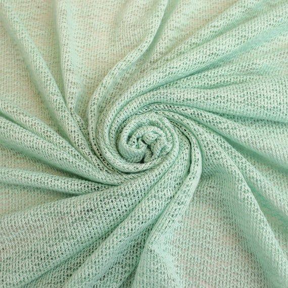 Seafoam Pale Hacci Crepe Poly Slub Cloud Knit Open Sweater