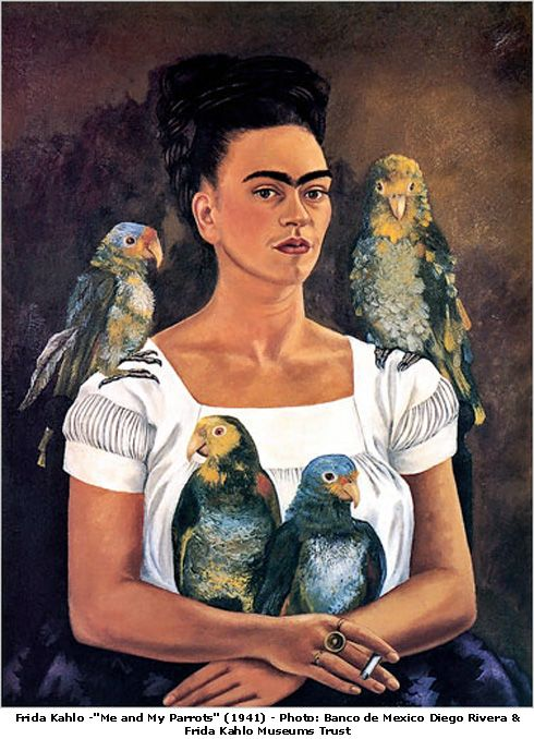 Frida Kahlo Me And My Parrots FRIDA KAHLO (1907 - 1954 ) MEXICAN ARTIST : More At FOSTERGINGER @ Pinterest