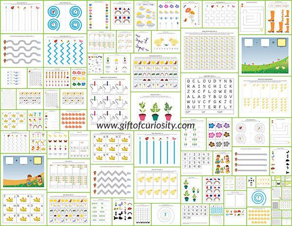 Çocukların yaşları 2-7 için 70 + bahar faaliyetleri ve çalışma sayfaları ile Bahar Printables Paketi.  çiçekler, böcekler, gökkuşağı, ve daha fazlasını içeren bahar öğrenme, ev eğitimcileri veya anaokullardan ne büyük bir kaynak!  ||  Merak Hediye