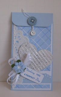Wedding Card Money Holder Made with the SU Petite Pocket die and scraps of designer paper.