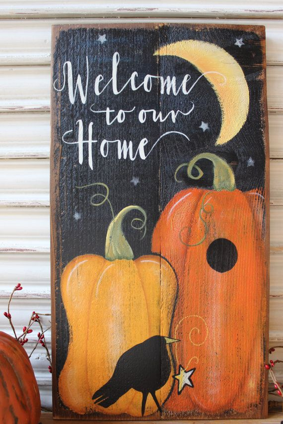 Primitive folk art, fall scene painted on distressed cedar wood. Welcome to our Home is perfect for your autumn decor. You can lean this sign