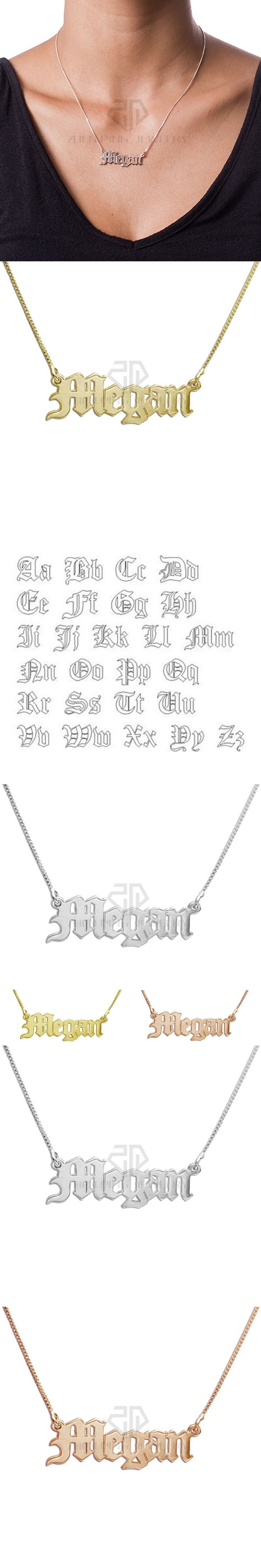 Personalized Nameplate Pendant Old English style Name Jewelry