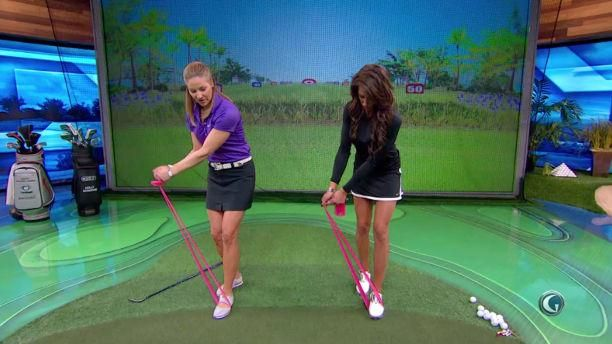 Karen Jansen and Holly Sonders give you tips on how to cure a golf slice. This drill involves moving your back foot back to stop your upper body starting the downswing. When you start your downswing with your upper body you are likely to cut across the ball and slice it off to the right. Essentially you need to get your swing path correct, once you do this you can start to increase your swing speed and get more distance. #gameinglove Game-inglove