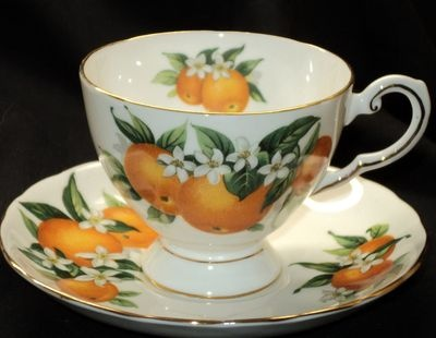 TUSCAN FLORIDA ORANGES fleurr simplyTclub Tea cup and saucer