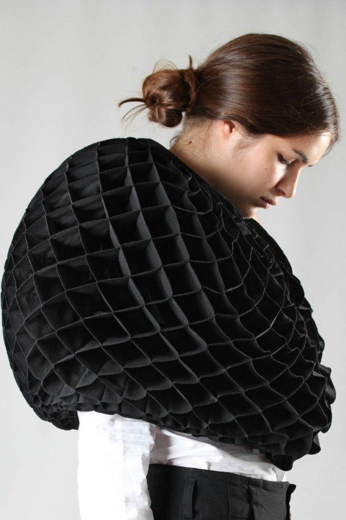 Junya Watanabe wide corolla cape in wool jersey floral origami, zip closure.